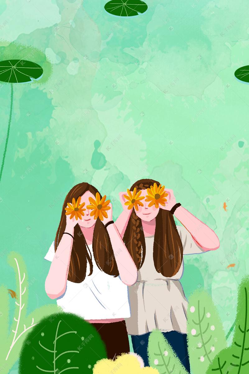 画风小a画风英文歌女插女孩简约背景图片免费下绿色的生安静友谊图片