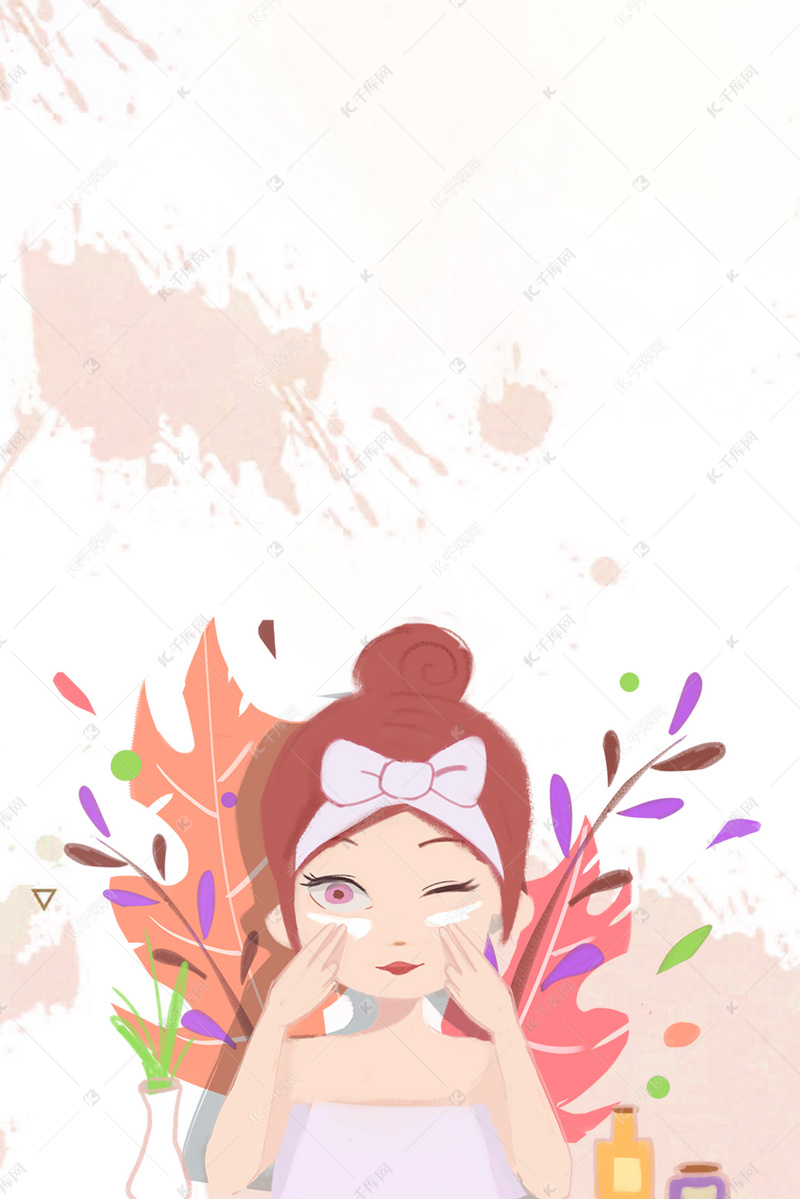 唯美腐烂模板美容按摩美女美女海报背景图片免手绘背景图片