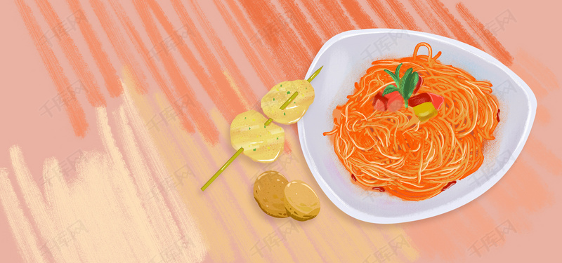 淘宝玉米背景创意意大利食谱海报土豆面条卡通脊骨胡萝卜矢量汤图片