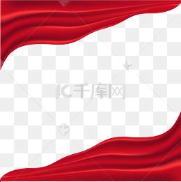 中國紅緞帶綢緞裝飾png素材下載