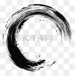 中國風圓形大氣毛筆刷筆觸