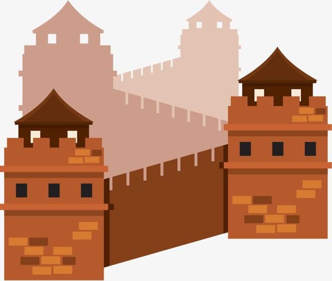 卡通扁平中国万里长城