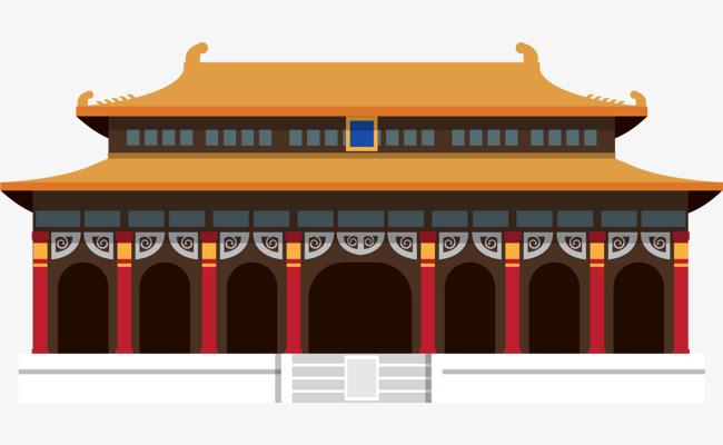卡通扁平中国风建筑