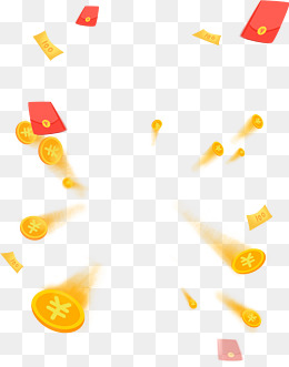 卡通飛舞的紅包硬幣手繪矢量