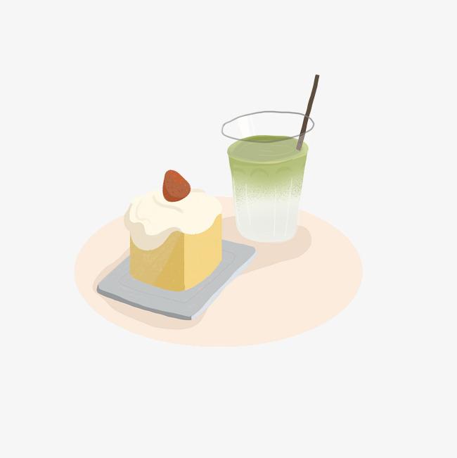 小海报美食抹茶红蛋糕蛋糕插画商业v海报品牌素草莓饮品vi设计公司图片