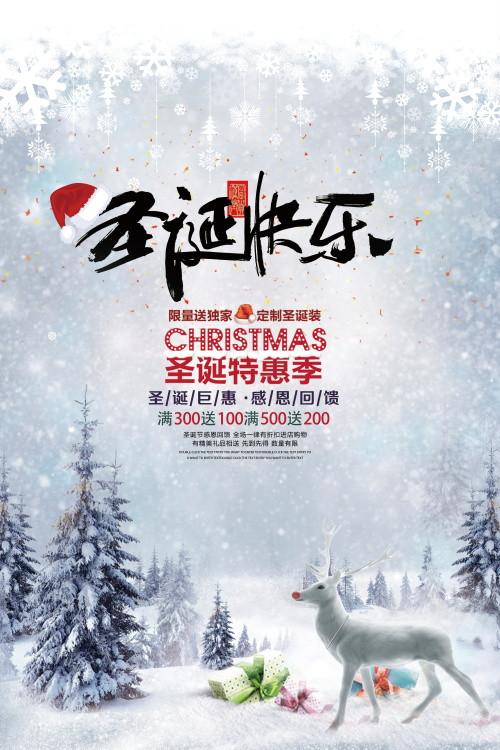 简约冰雪世界圣诞快乐圣诞节海报