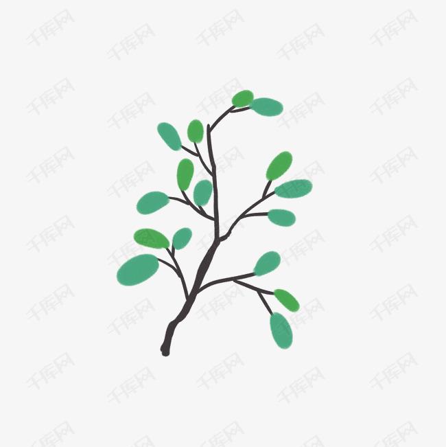手绘装饰绿植树叶插画