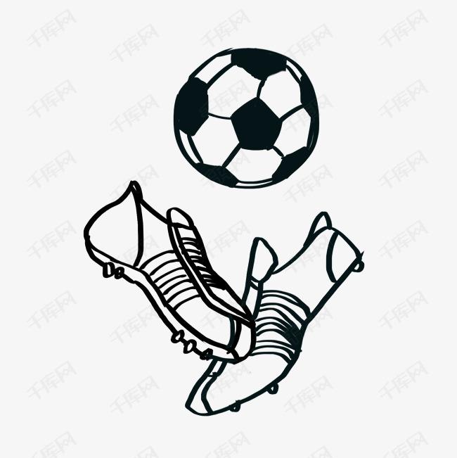足球和足球鞋简笔画素材