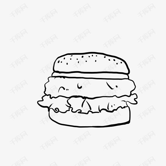 简易汉堡简笔画食物素材图片免费下载 千库网