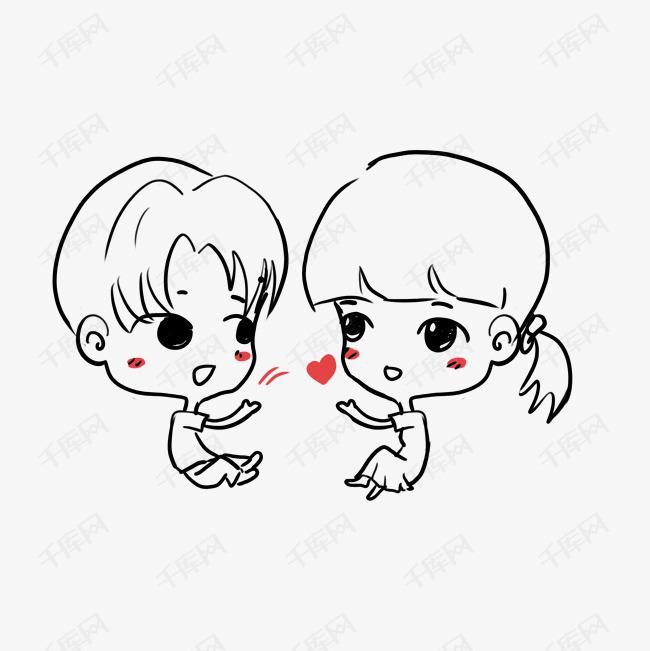 情侣简笔画卡通手机壳装饰图案图片