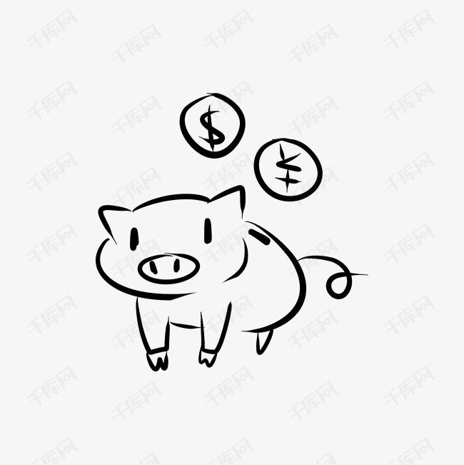 线条手绘黑白存钱罐素材图片免费下载_高清卡通手绘
