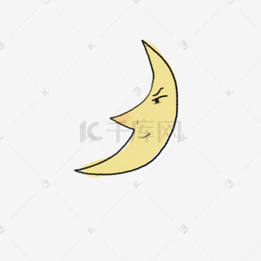 卡通打开的月亮表情免抠图表情包我呀开心枪图片