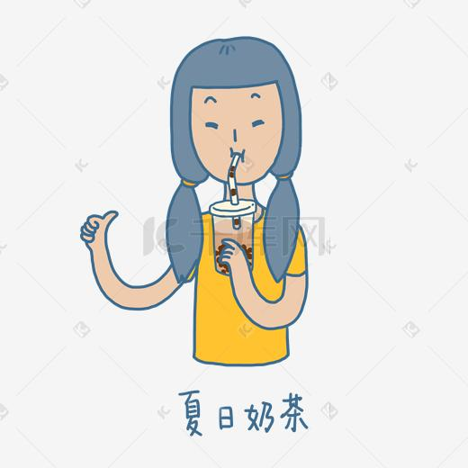 夏日清凉手绘卡通可爱双马尾女孩喝酒吃肉表情包图片
