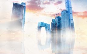 北京空中建筑夕阳下电视台