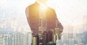 创意合成商人与城市