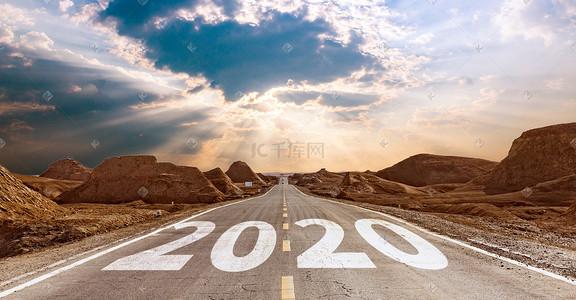 简约公路创意2020跨年背景图片