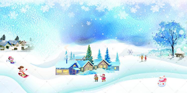 大寒节气雪后景色背景图片免费下载 千库网