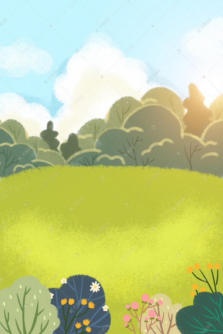 蓝天白云人物背景图