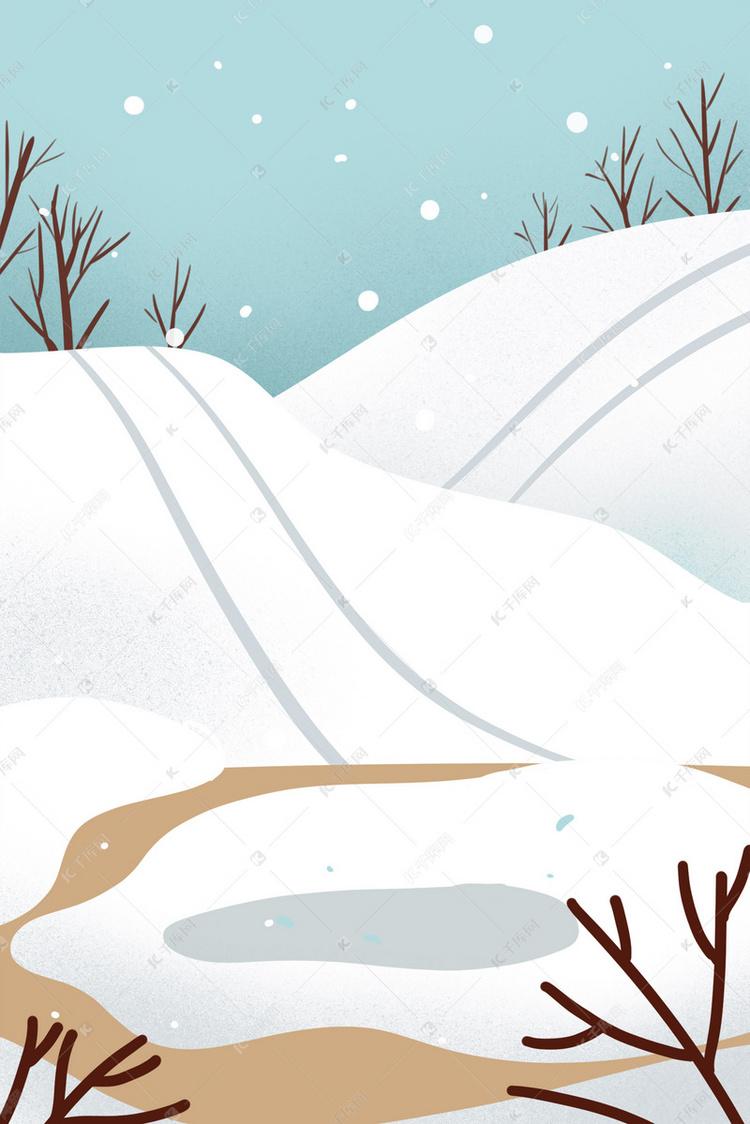 手绘插画冬天雪天雪山风景背景图片免费下载 千库网