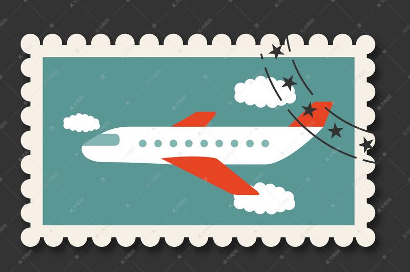 手绘飞机旅游复邮票背景                           版权声明:该素材