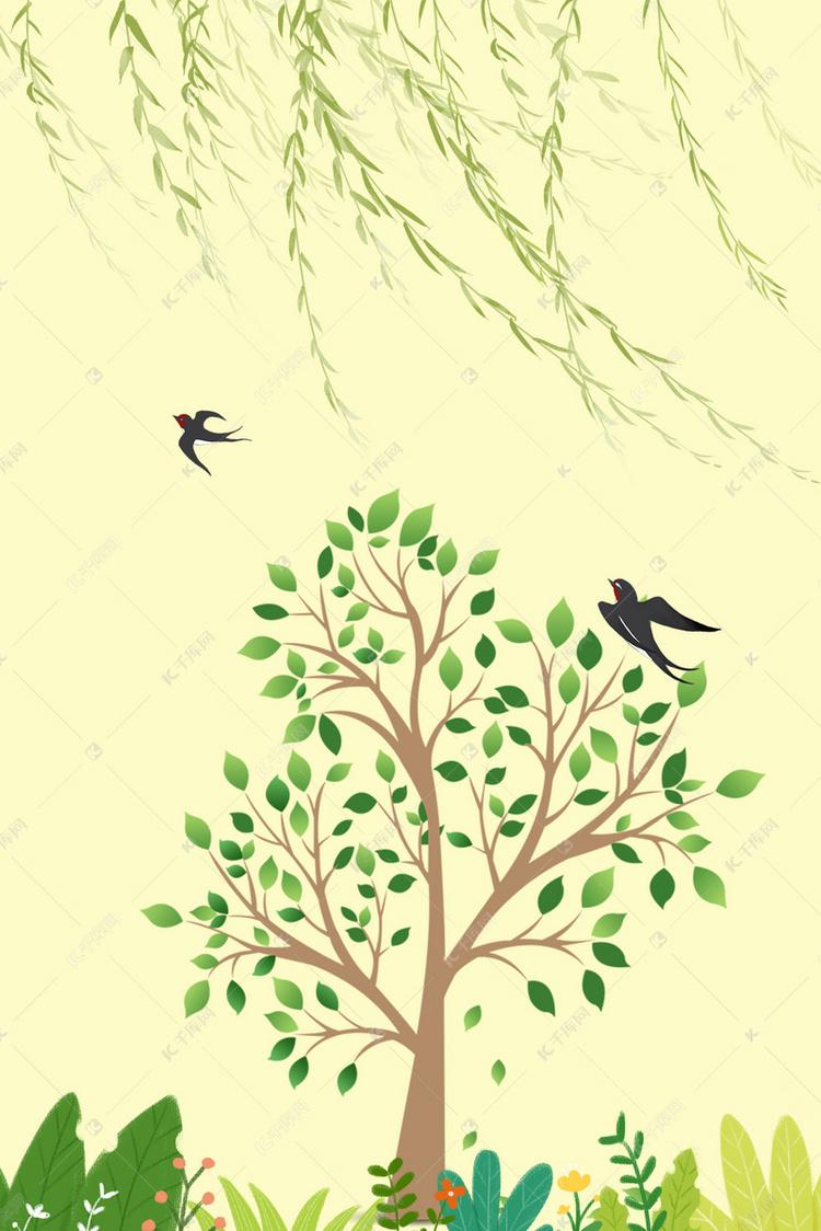 春天大树简笔画大全_春天大树简笔画:茂密的大树
