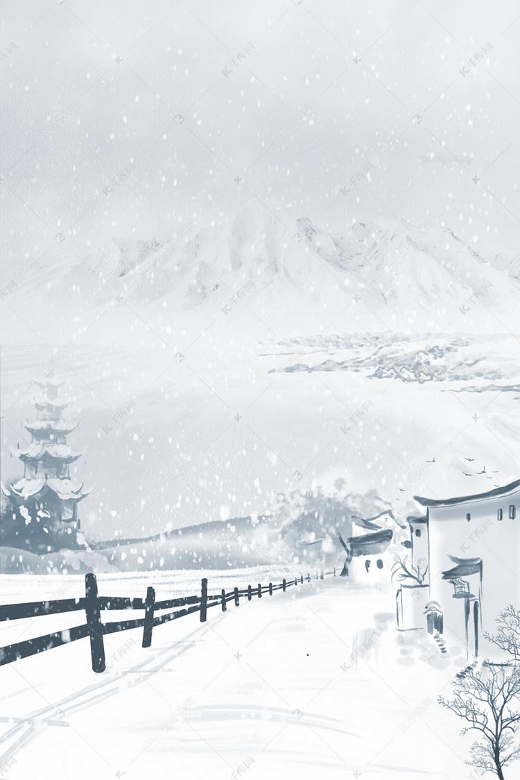 雪山雪景雪天护栏亭台楼阁徽派建筑风景背景图片免费下载 千库网