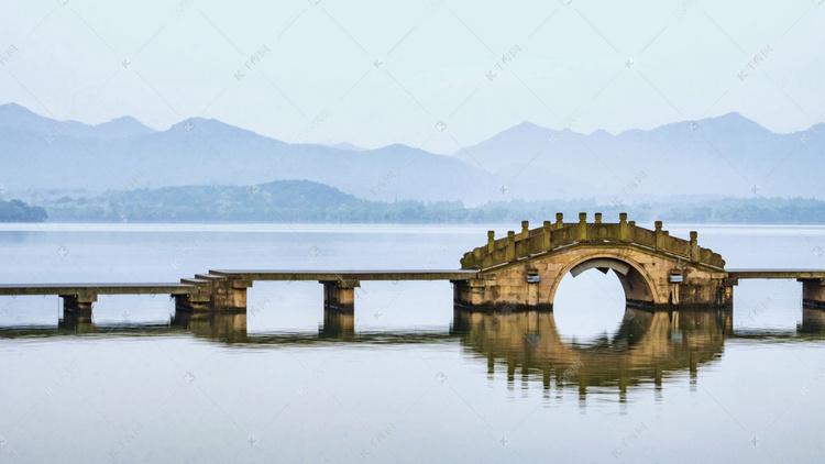 杭州西湖石桥风景高清摄影大图 千库网