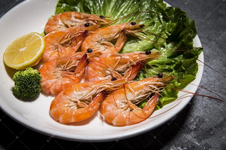 一盘美味大虾摄影高清摄影大图 千库网