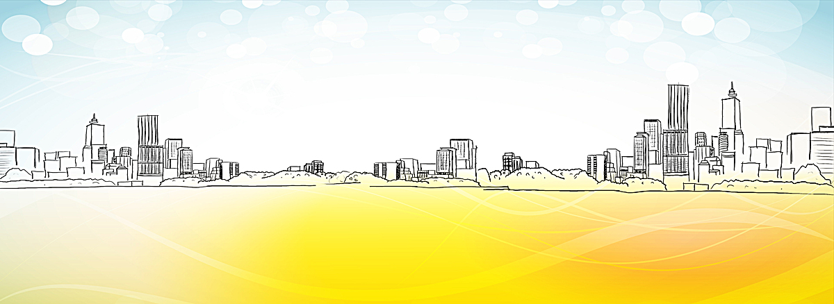 简约手绘都市剪影海报背景