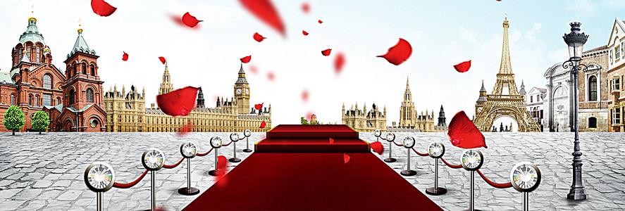 欧式婚礼舞台banner创意设计