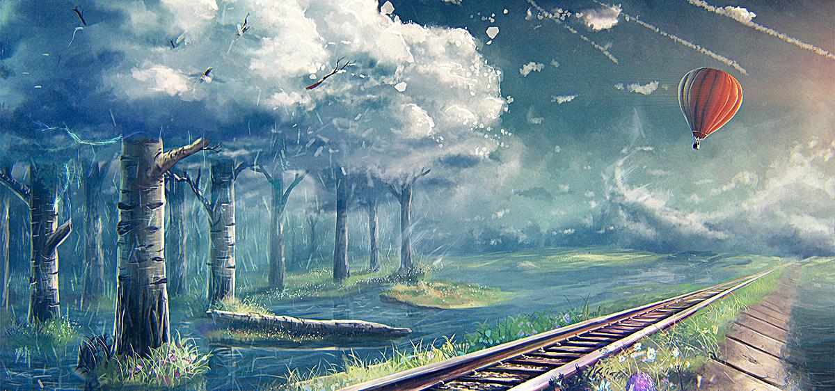 铁轨沿路的风景