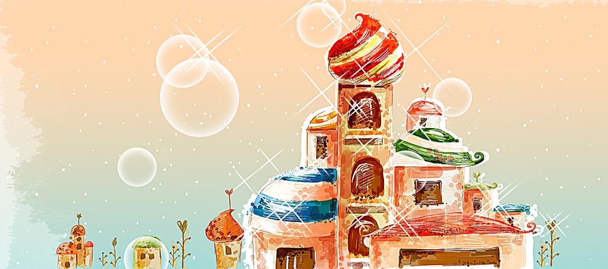 海报背景_卡通城堡背景psd素材-90设计图片