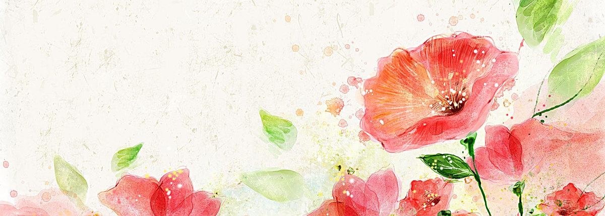 清新手绘水粉花朵背景