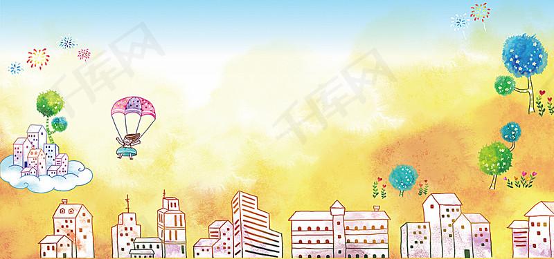 手绘卡通背景图片免费下载_海报banner/psd_千库网(图片编号126437)