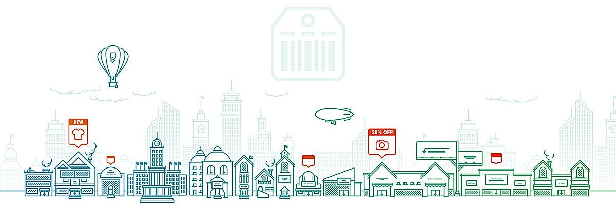 卡通城市手绘轮廓背景banner
