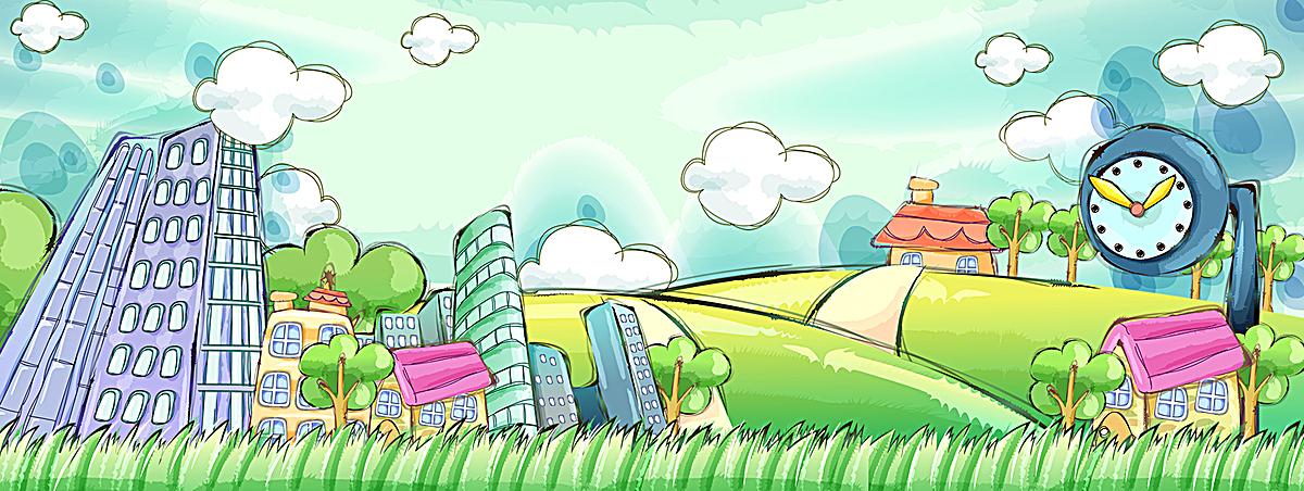 手绘春天风景背景
