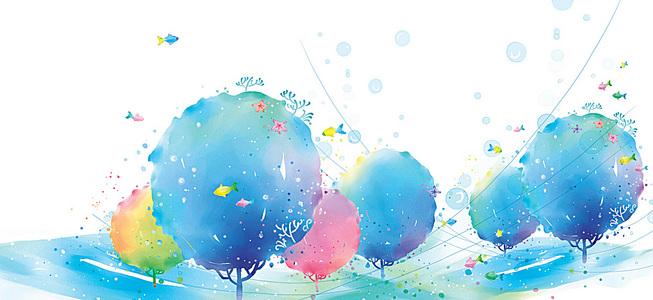 水彩树背景素材 水彩树高清背景下载 千库网