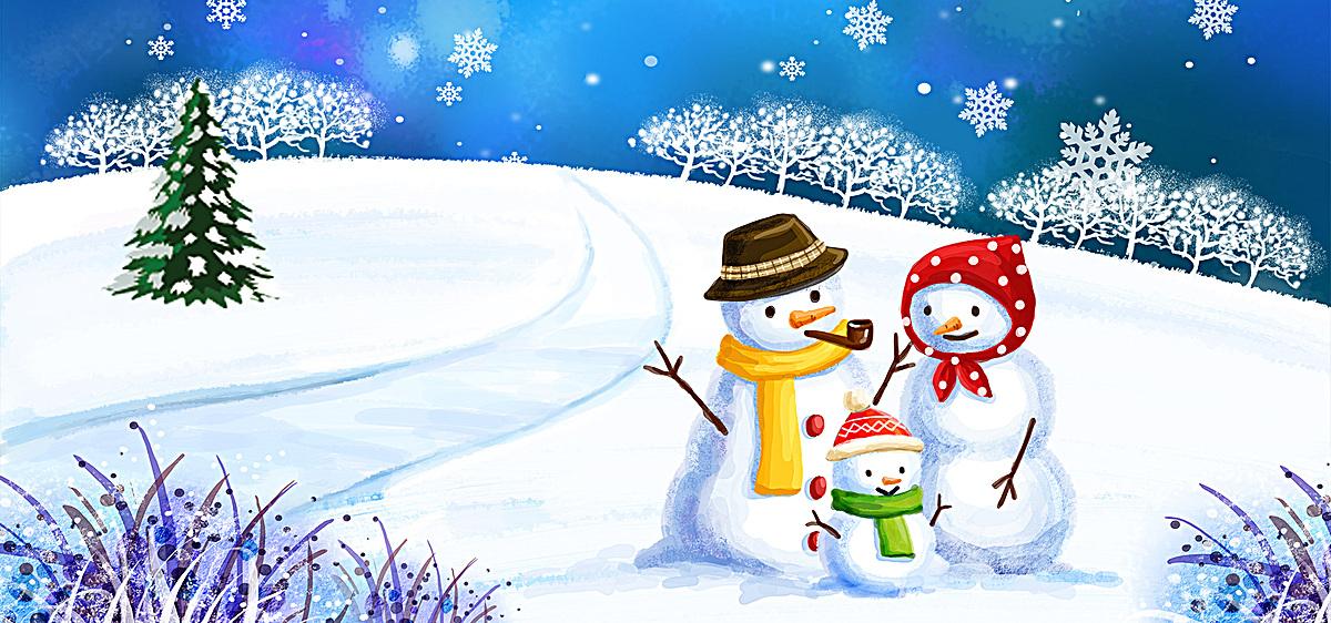 雪地风景背景图片