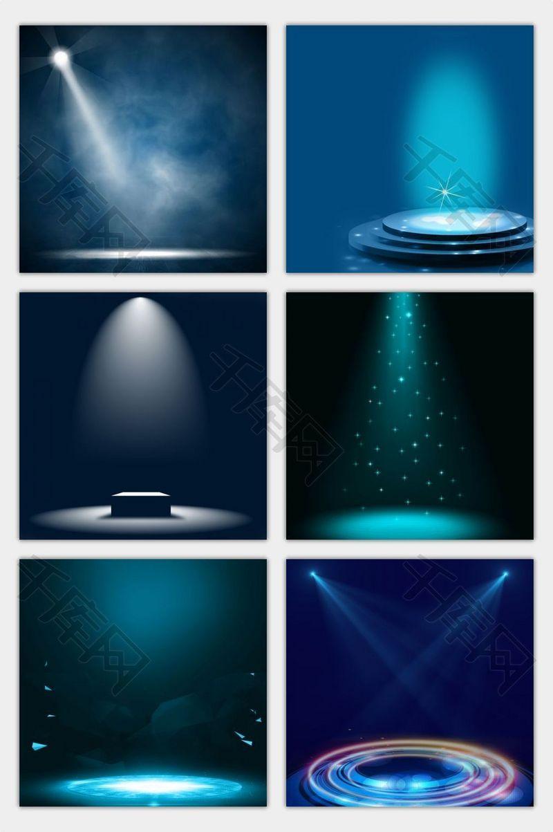 神秘深蓝色光束舞台主图背景