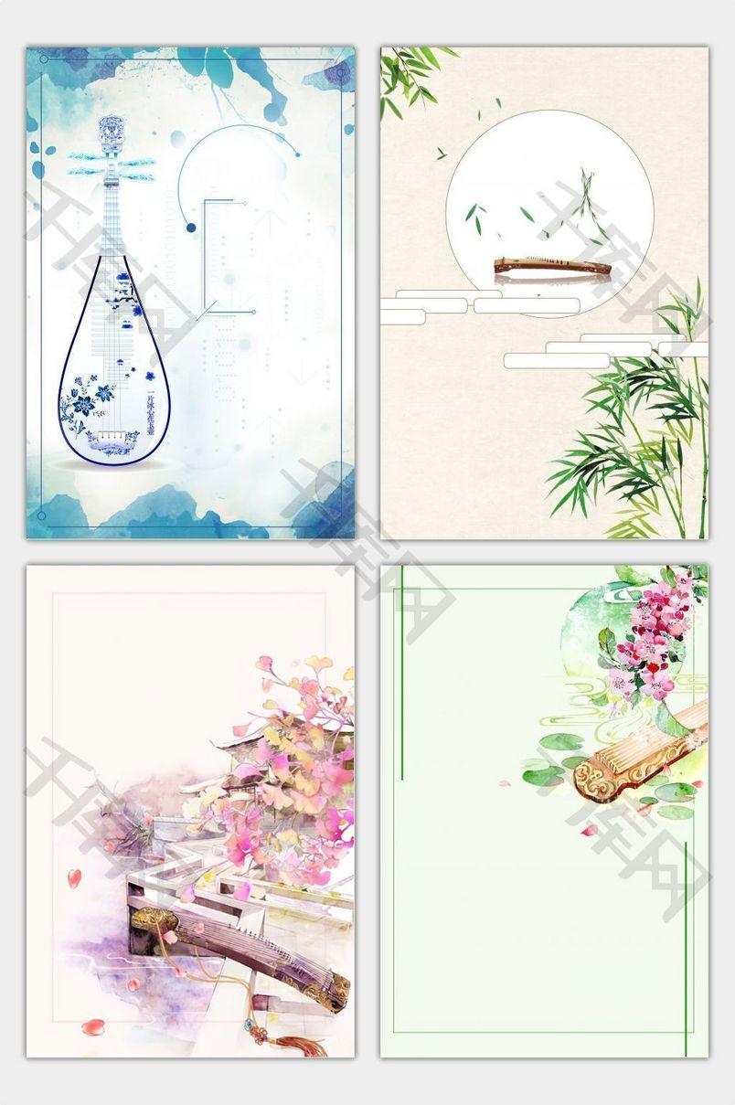 清新 文艺海报 鲜花海报 水彩 手绘海报 卡通海报 绘画海报 古筝