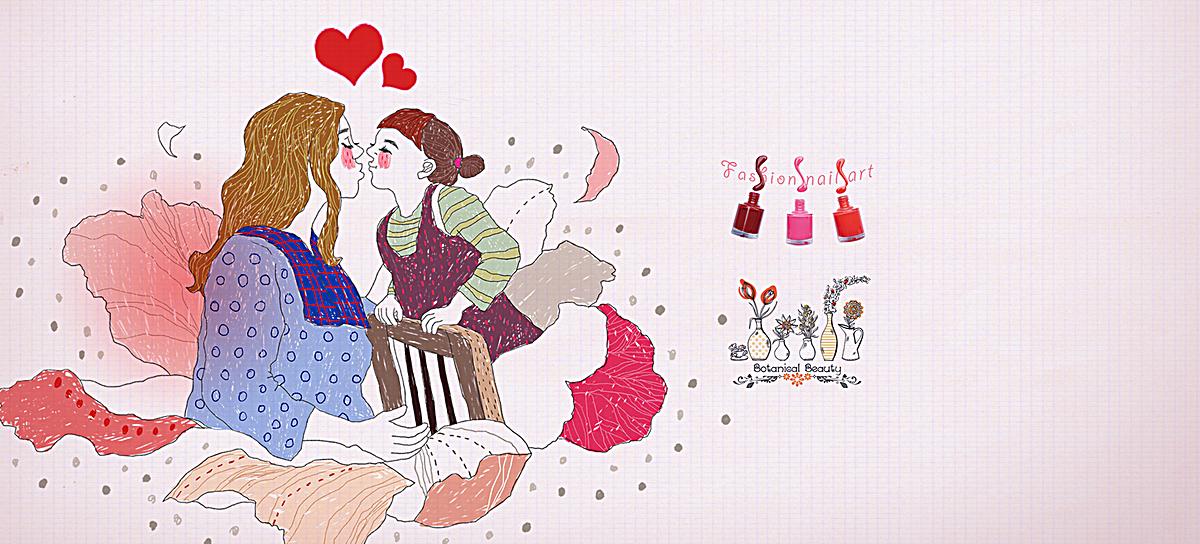 手绘卡通母女背景