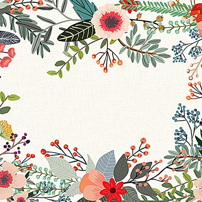 矢量唯美森系淡雅水彩花环朵花边背景