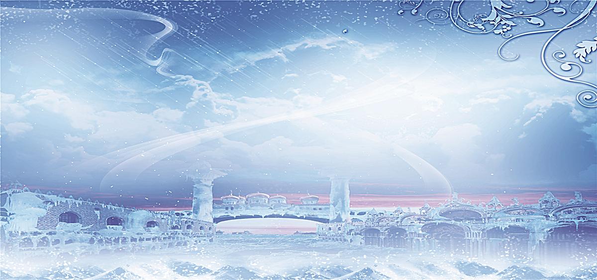 雪景 童话城堡 浪漫背景 雪花 冬天海报背景