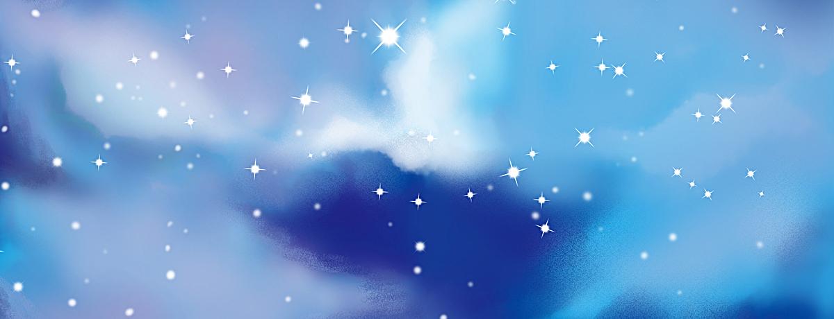 手绘蓝天白云宇宙