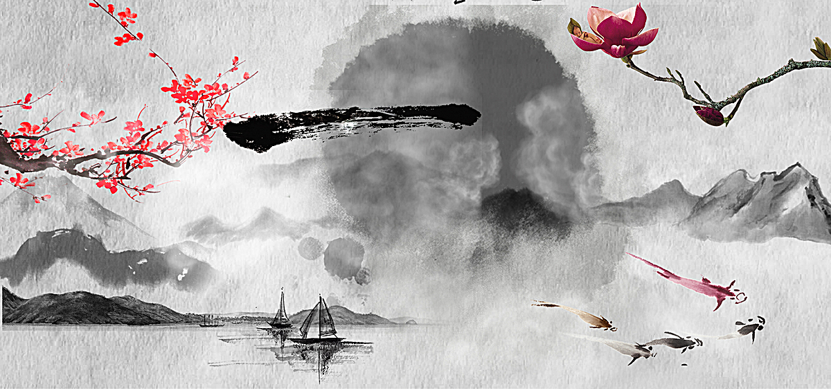 水墨江南山水风景画设计