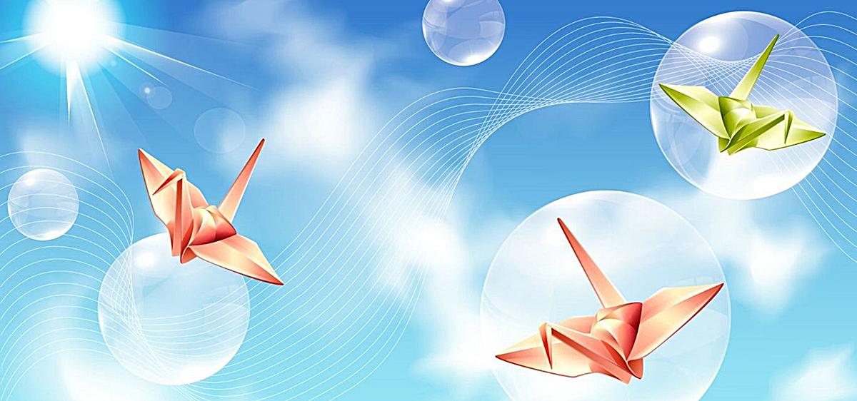 图片 > 【jpg】 千纸鹤天空背景  分类:艺术字体 类目:其他 格式:jpg