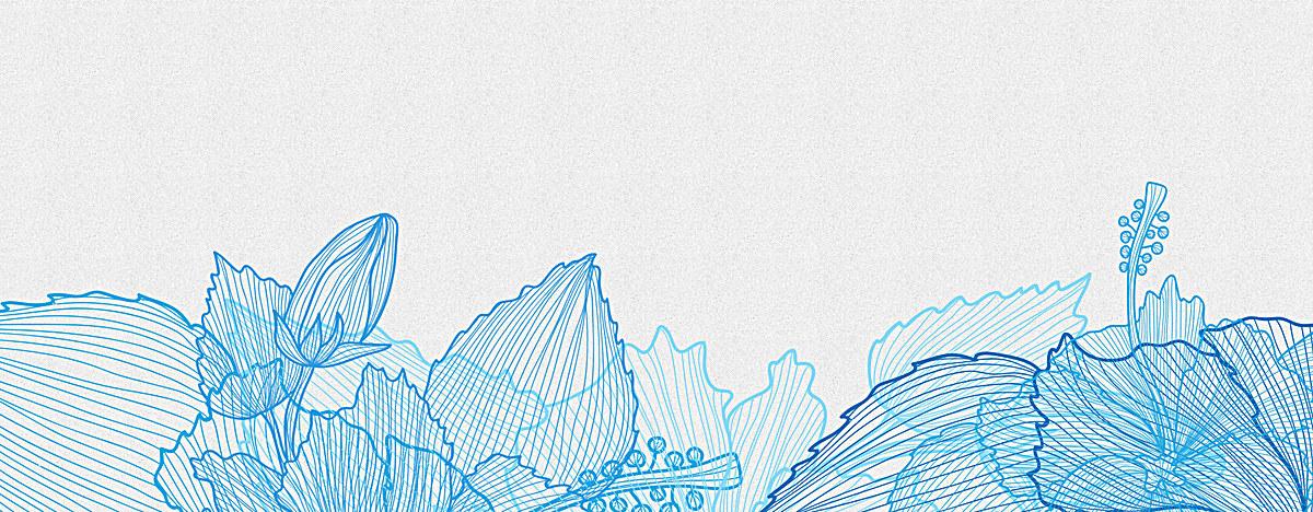 水彩手绘描边蓝色花朵背景