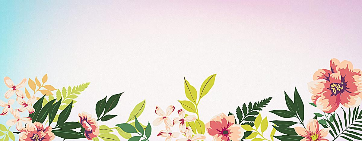 水彩手绘小清新花朵背景