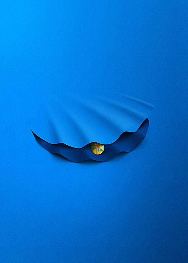 蓝色文艺h5背景jpg素材-90设计