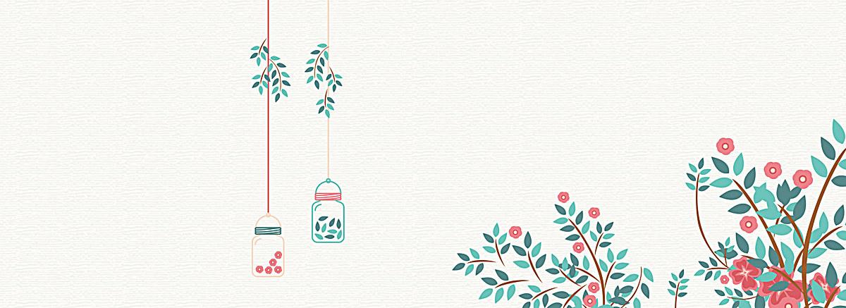 小清新文艺手绘花朵背景